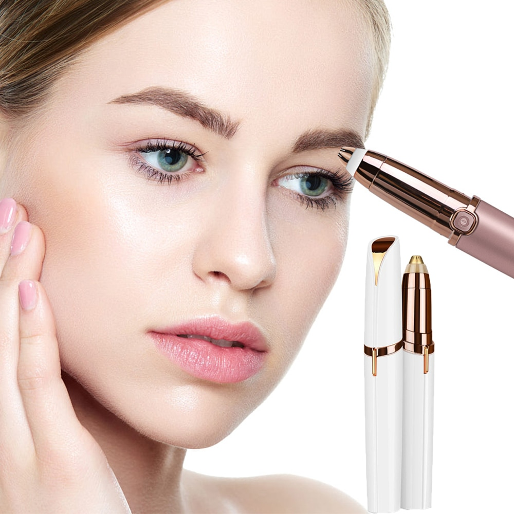 Best Electric Eyebrow Trimmer Makeup Painless Eye Brow Epilator Portable Facial Hair Remover Mini Sh