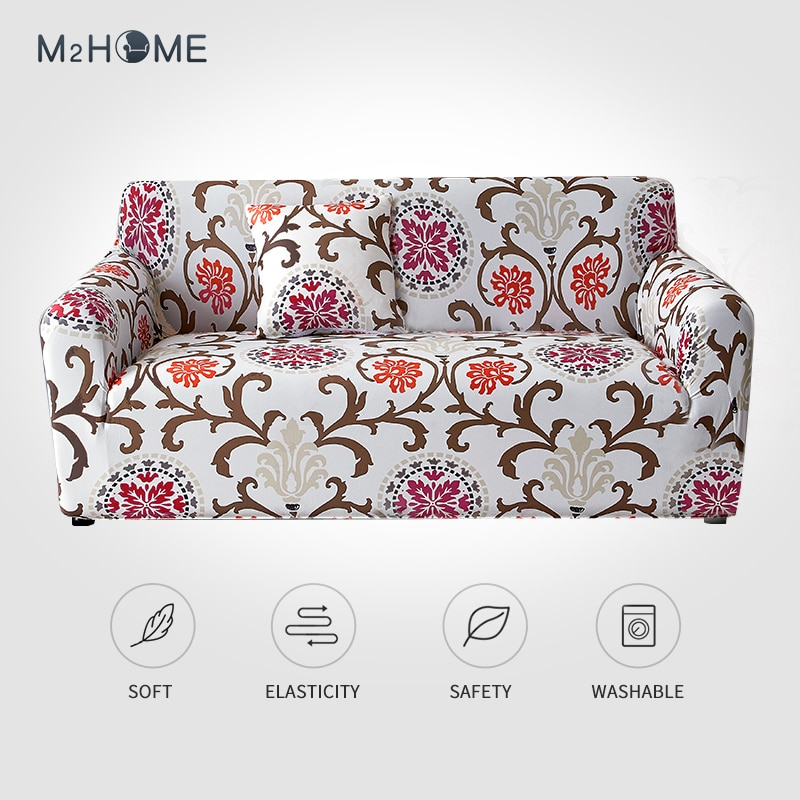 AliExpress - M2 Elastic Printing Sofa Cover Multicolor Living Room Sofa Chair Home Decoration 1/2/3/4 Seat Pet Stretch Polyester Sofa Cover