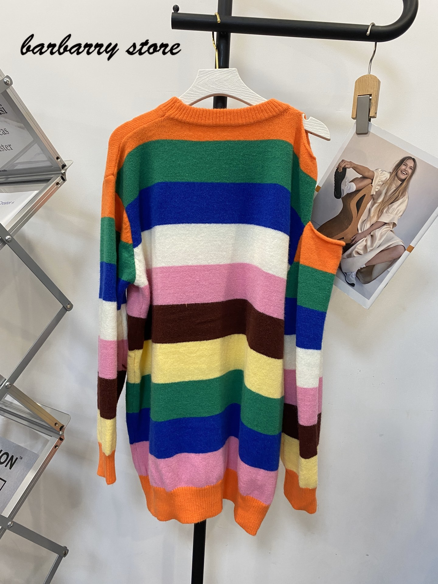 2021 luxury design stripe fashion women's long sweater loose temperament contrast color round neck long sleeve knitted dress enlarge