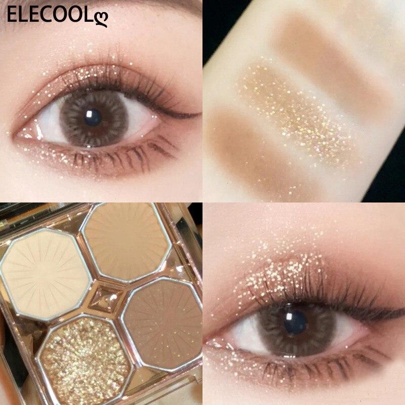 ELECOOL 4 Colors Professional Women Eye Shadow Cosmetic Waterproof Long Lasting Earth Color Eyeshado