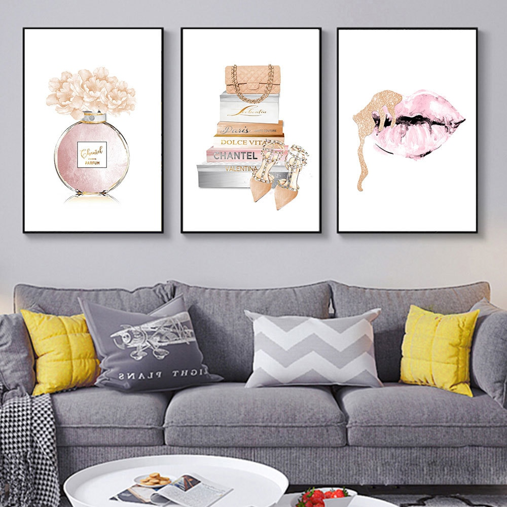 Fashion Poster Perfume Bottle Canvas Art Prints Flower Book Wall Painting Watercolor Lips Pictures Modern Vogue Girl Room Decor