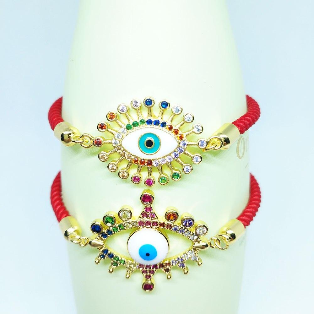 Red String Evil Eye Bracelet Handmade Thread Good Luck Braided Bangles Amulet For Women Adjustable Rainbow Jewelry Gift depb-25
