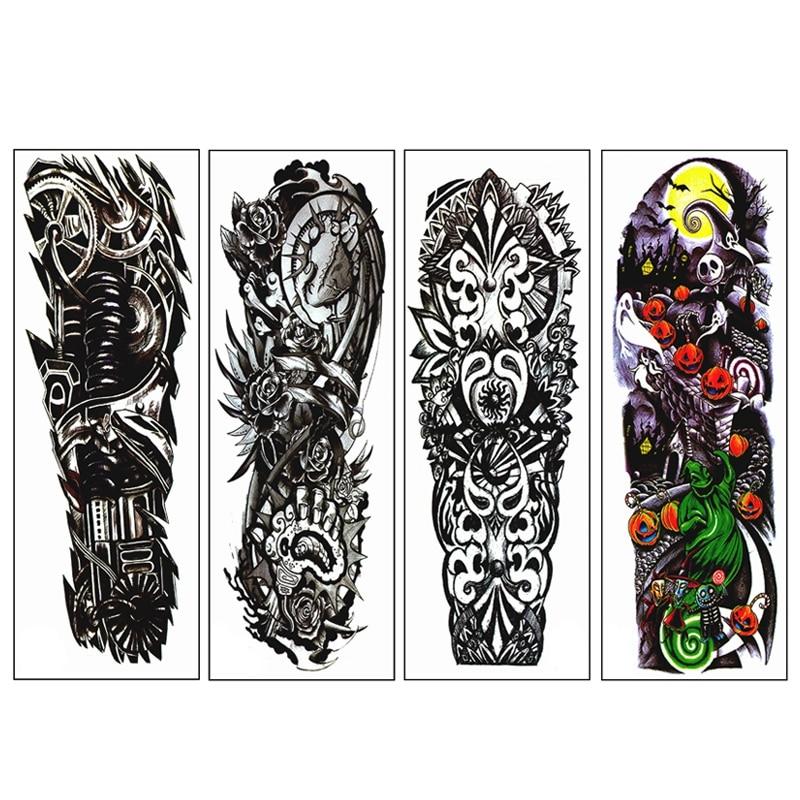 4 unids/lote tatuajes temporales calcomanías impermeables patrón mecánico de brazo completo tatuajes apliques brazo completo tatuajes pegatina 48 x 17cm