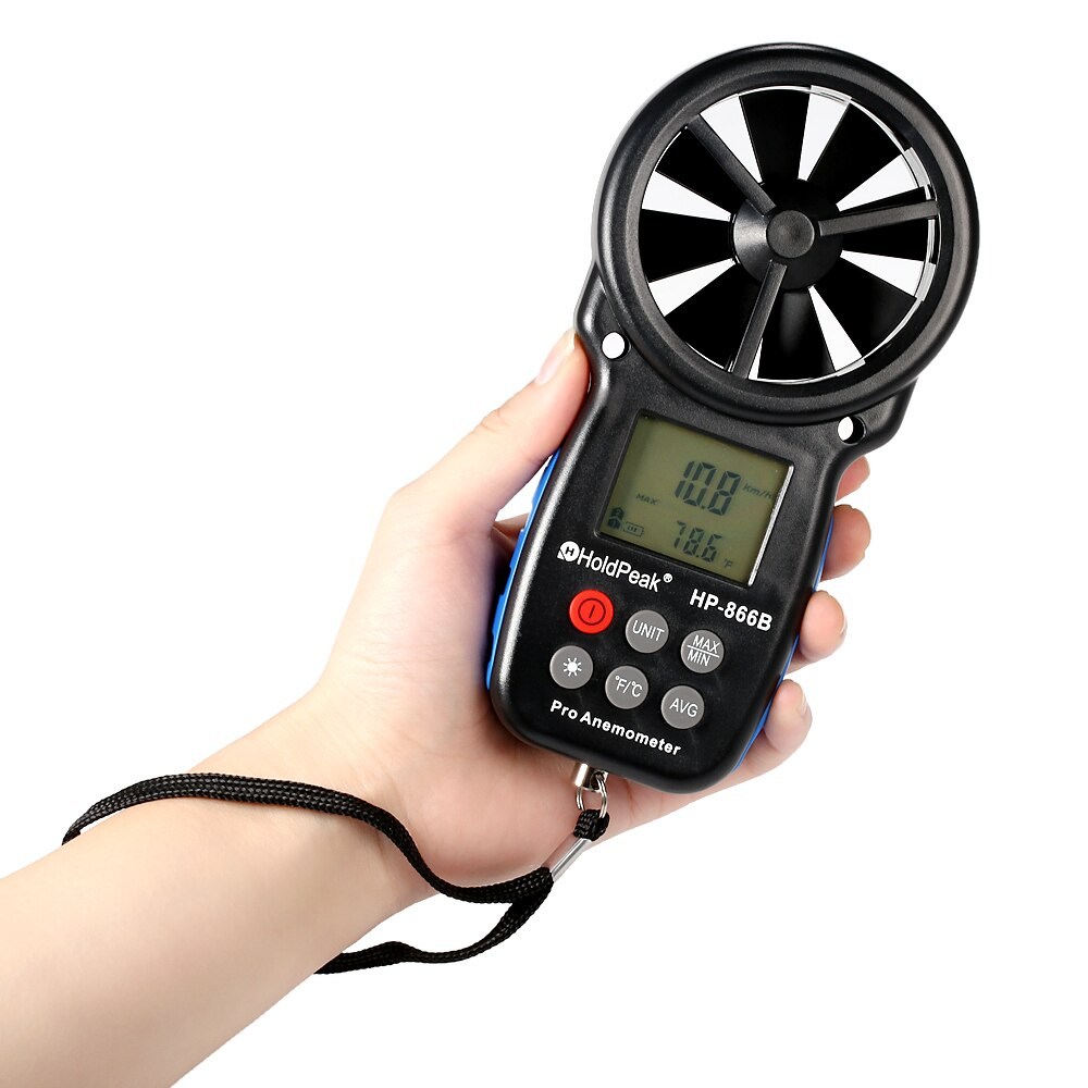 HP-866B anémomètre numérique compteur de température Mini compteur de vent vitesse du vent vitesse de lair mesure capteur de vent compteur de vent 0-30 m/s