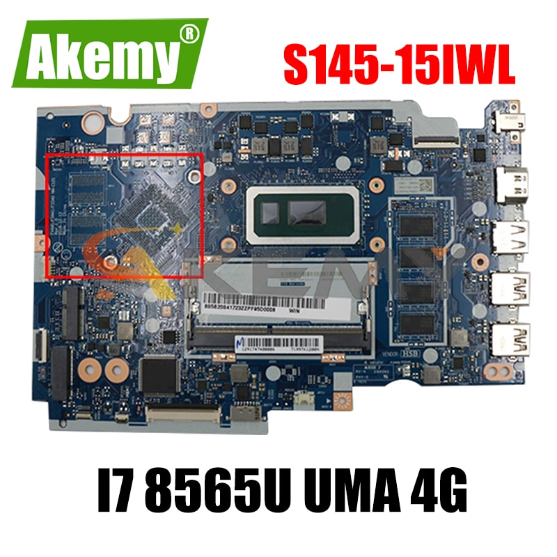 لينوفو Ideapad S145-15IWL / V15-IWL NM-C121 اللوحة الأم المحمولة مع وحدة المعالجة المركزية i7 8565U UMA 4G الفراء 5B20S41723 ، اختبار موافق اللوحة الرئيسية
