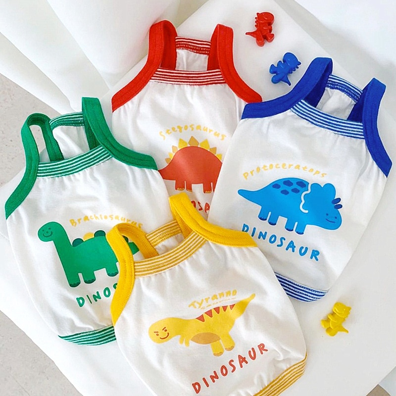 Summer Pet Dog Clothes Breathable Vest Cartoon Dinosaur Pattern Chihuahua for Small Dogs T-Shirt Fashion Costume