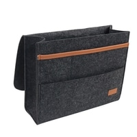 Bed Holder Pockets Bedside Storage Bag Bed Sofa Side Pouch Remote Control Hanging Caddy Bedside Couch Storage Organizer Dark Gra