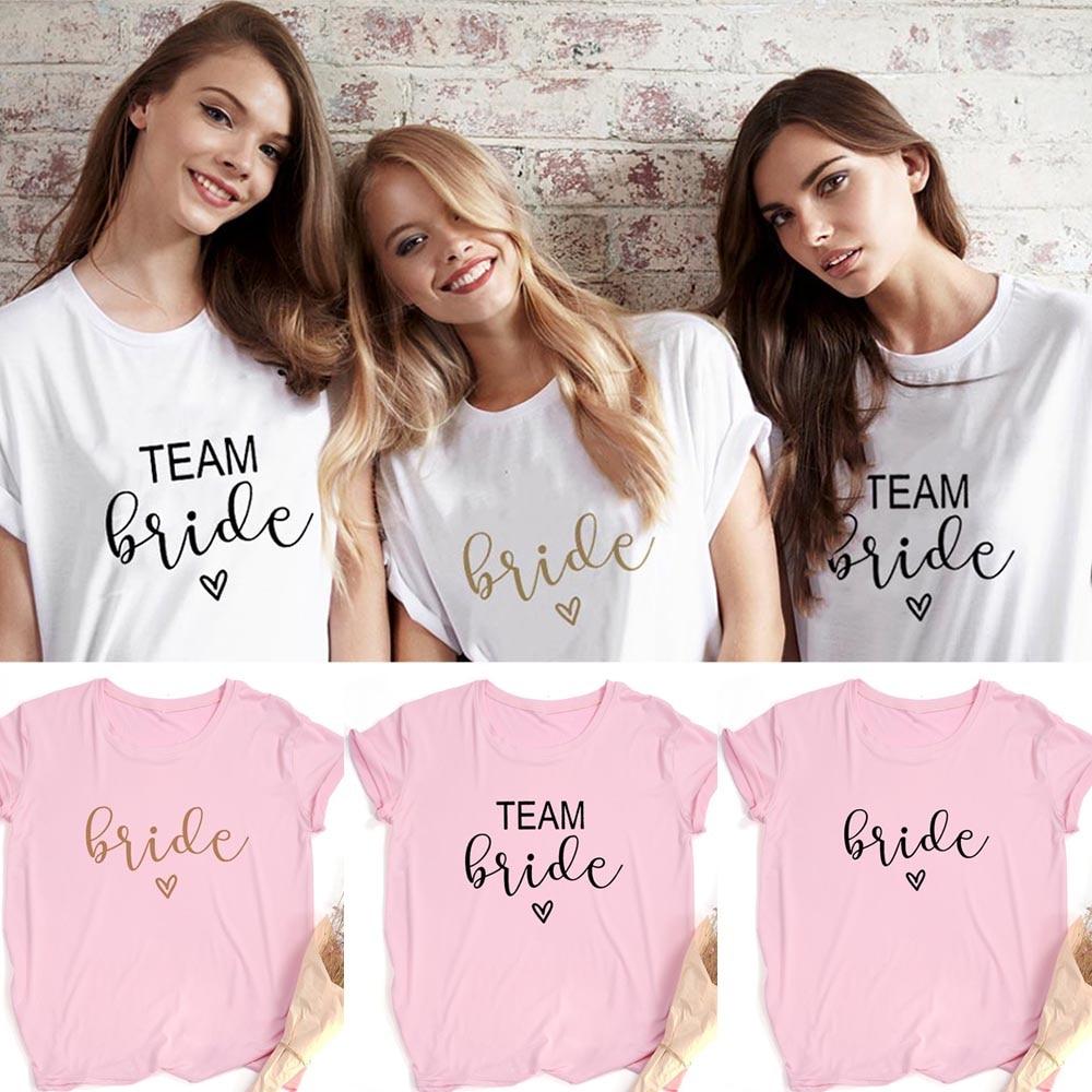 Team Bride Print Women Short Sleeve T Shirts Bachelorette Wedding Party Graphic T-shirt Harajuku Tshirt Female Tees Tops Hipster