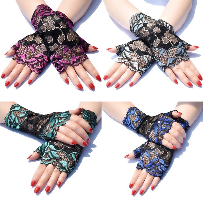 Кружевные солнцезащитные перчатки, эластичные тонкие перчатки на полпальца, летние перчатки для вождения с защитой от УФ-лучей, сексуальны...