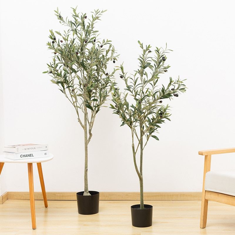 120cm Artificial Olive Tree Plant Potted Fake Holly Plant Green Leaf Fruit Tree 3.9 Feet Large Olive Tree Home Office Decoration