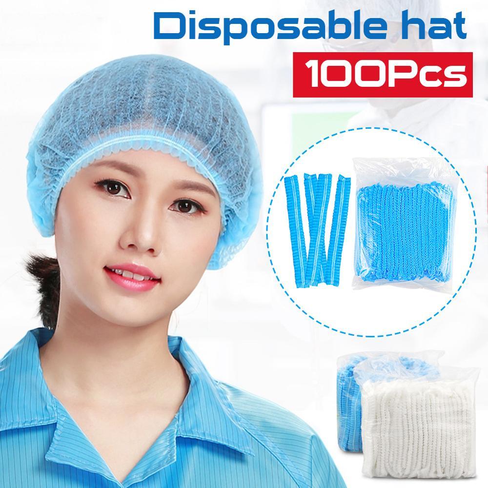 100 stücke Einweg Bouffant Caps Nicht-Woven Haar Gesponnen Begrenzt Haar Kopf Abdeckung Blau weiß für bad küche krankenhäuser