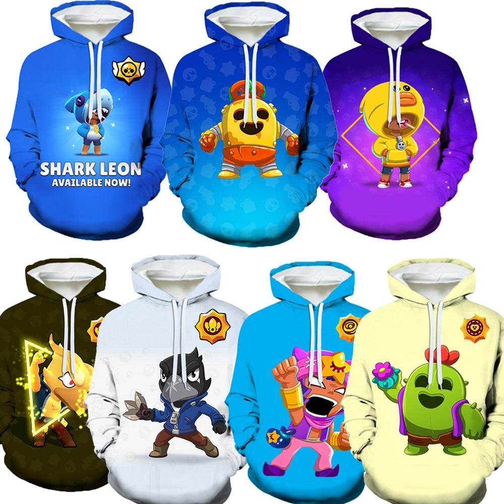 Kpop tubarão leon hoodie crianças traje 3d impressão jogo hoodies meninos corvo pico nita natal crianças presentes roupas browl