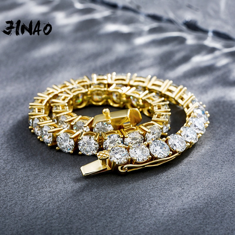 Review JINAO 925 Silver Bracelets On Hand 3mm 4mm 5mm High Quality  Personality Iced Out Moissanite Bracelet Men and Women Jewelry