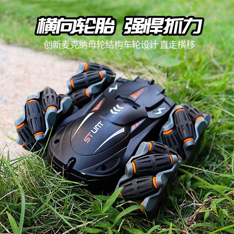 Remote Control Four-wheel Drive Transverse Drift Stunt Car Double-sided Rotating Cross-country Climbing Light Children's Toy Car enlarge