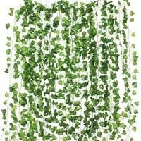 Guirlande de feuilles artificielles 2 2-2 4m  fausse feuille verte  vigne de lierre  plante artificielle  decoration murale  fete de mariage  jardin de maison