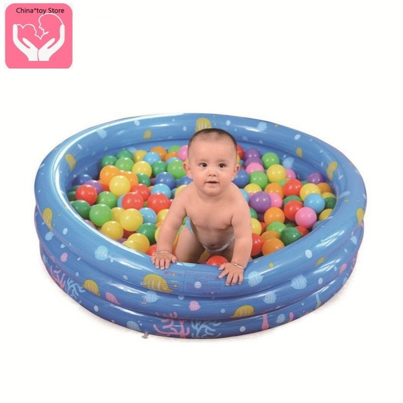 Cartoon Round Three-ring Inflatable Bath Pool Thickened Folding Baby Swimming Pool 80CM Ball Pool Bubble Bottom