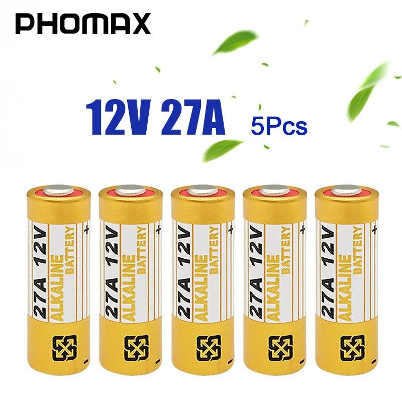 PHOMAX 5 unids/pack alcalina de la batería seca 27A 12V control remoto batería desechable CA20 K23A 23AE R27A A23 VR27 fan reloj batería de juguete