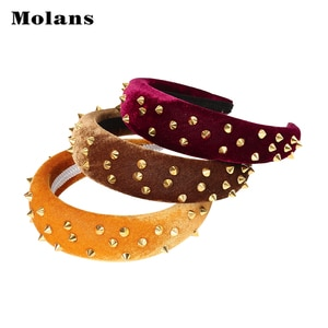 MOLANS Gold Color Rivet Sponge Hair Hoop Thicken Solid Color Hair Band Women Fashion Headband Hair Accessories Headwear 2020 New