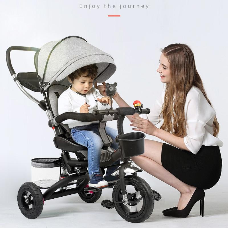 Baby Stroller 3 In 1 Portable Baby Tricycle Stroller Children Tricycle Bike Bicycle Sit Flat Lying Trike Trolley Swivel Seat enlarge