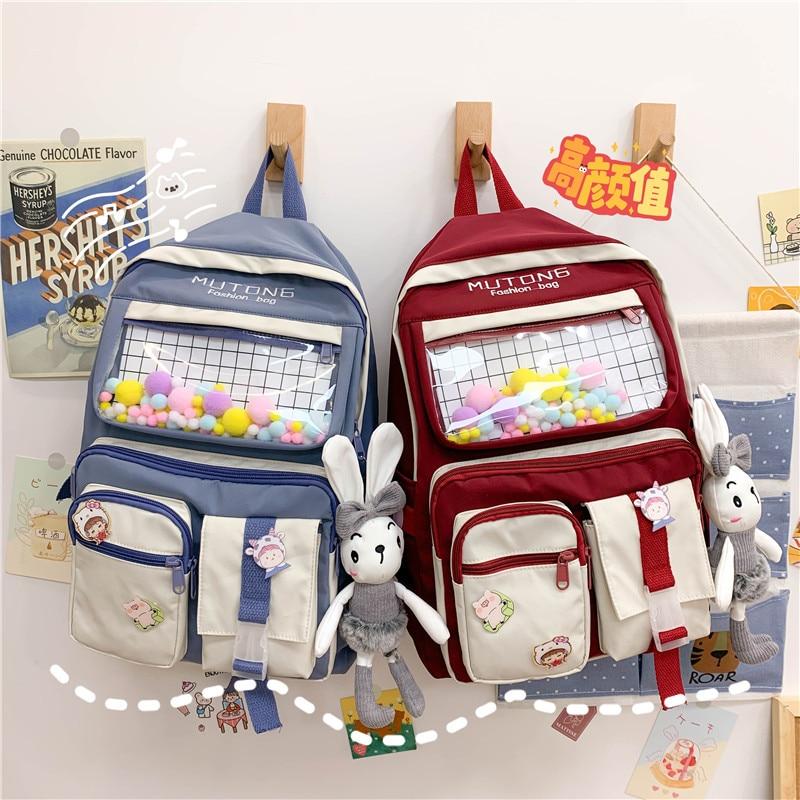 2021 Kawaii Nylon Women Backpack Fashion laptop bag For Teenage Girls School Bag Cute college Student Bookbag Travel Mochila corduroy women backpack bookbag laptop daypack college travel school shoulder bag for teenage girl f42a