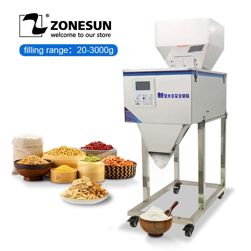 ZONESUN 3000g شبه التلقائي المواد الغذائية غرامة مسحوق كاجو مكسرات حقيبة الكمية وزنها ماكينة حشو