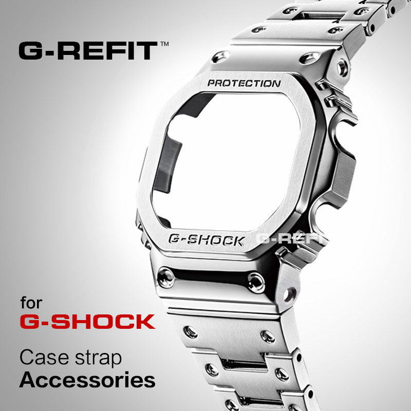 G-Refit DW5600/5610 GW5600E DW/GW5000 Stainless Steel Watchband Case/Bezel 5000 DW5035 Accessories with Tools Silver Black Strap