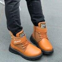boys ankle boots winter plush warm hot student autumn girls children child kids genuine leather cowskin big plus size 26 41