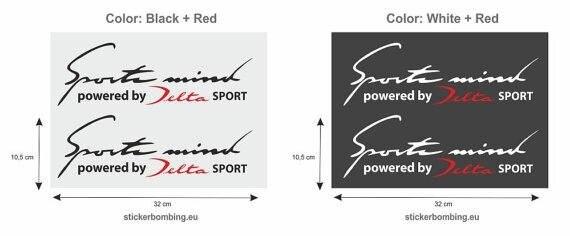 "Para x2 adesivos conjunto para lancia delta-""esporte mente alimentado por delta"""