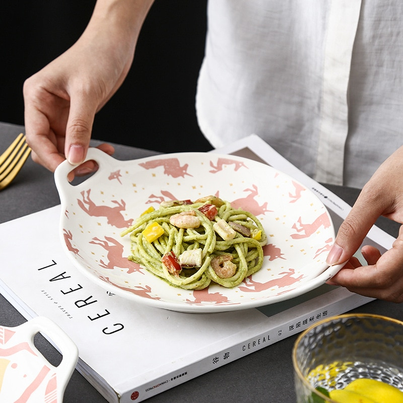 لوحة سيراميك بكلتا الاذنين لون السيراميك الأخضر الداكن لوحة تخدم ، طبق تقديم الحلوى ، طبق الأرز المنزلية مزدوجة بسيطة