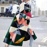 2021 autumnwinter new fashion geometric print loose long coats for women multicolor turn down collar wool coat women donsigent