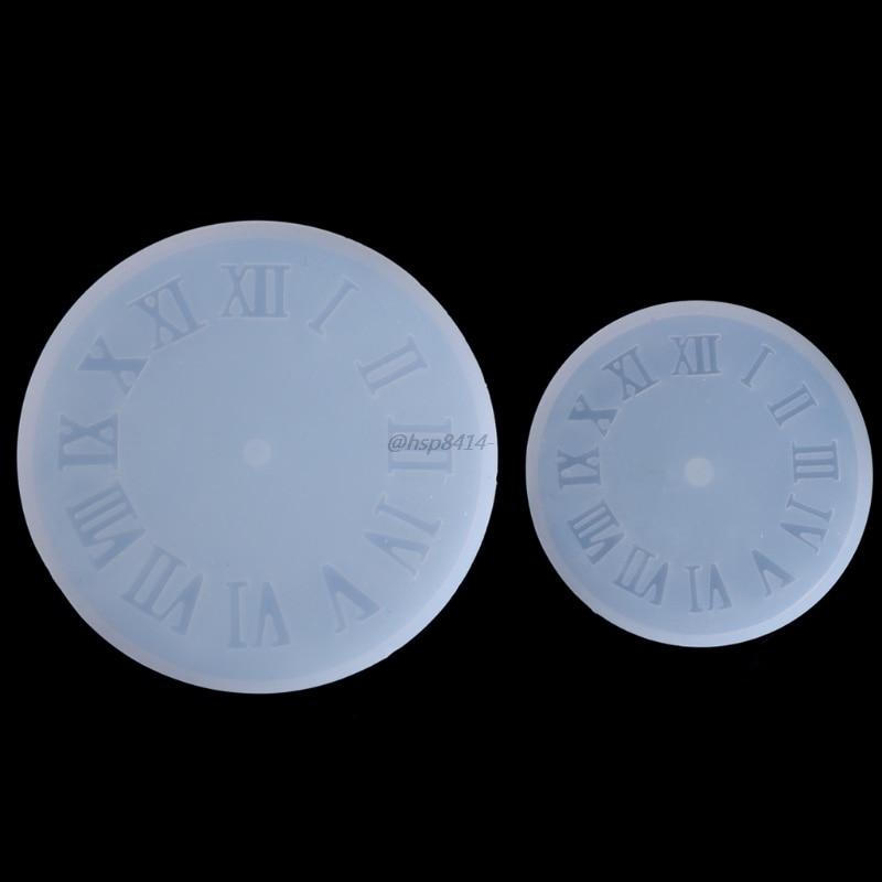 Molde para joyería DIY de silicona con números romanos, colgante con forma de reloj para pastel de Fondant H7EB