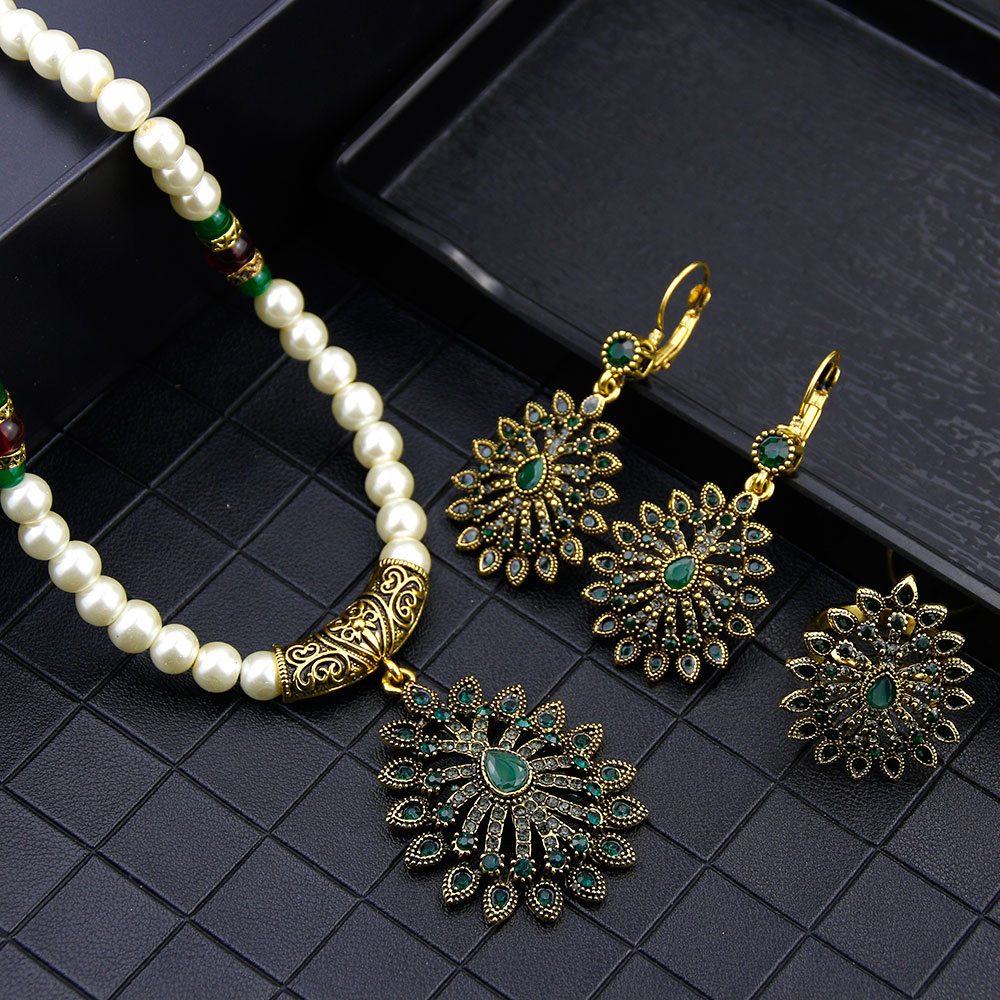 Sunspicems 2021, свадебный набор украшений для женщин, свадебные серьги с африканскими цветами, ожерелье, кольцо, античное золото, ювелирное изделие
