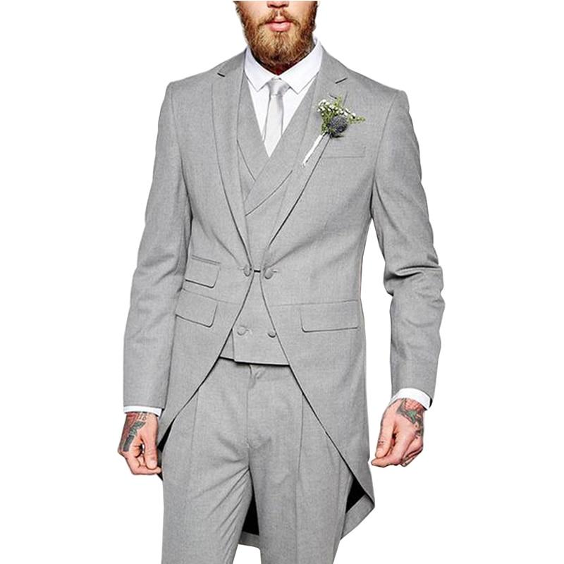 Мужские костюмы из 3 предметов, строгий приталенный пиджак, костюм с отложным воротником, смокинги, костюмы для жениха, костюмы для свадебно...