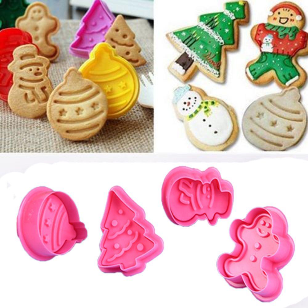 Gran oferta galleta sello molde de galleta 3D DIY muñeco de nieve galleta émbolo cortador para hornear molde de jengibre casa Navidad galletas cortadores