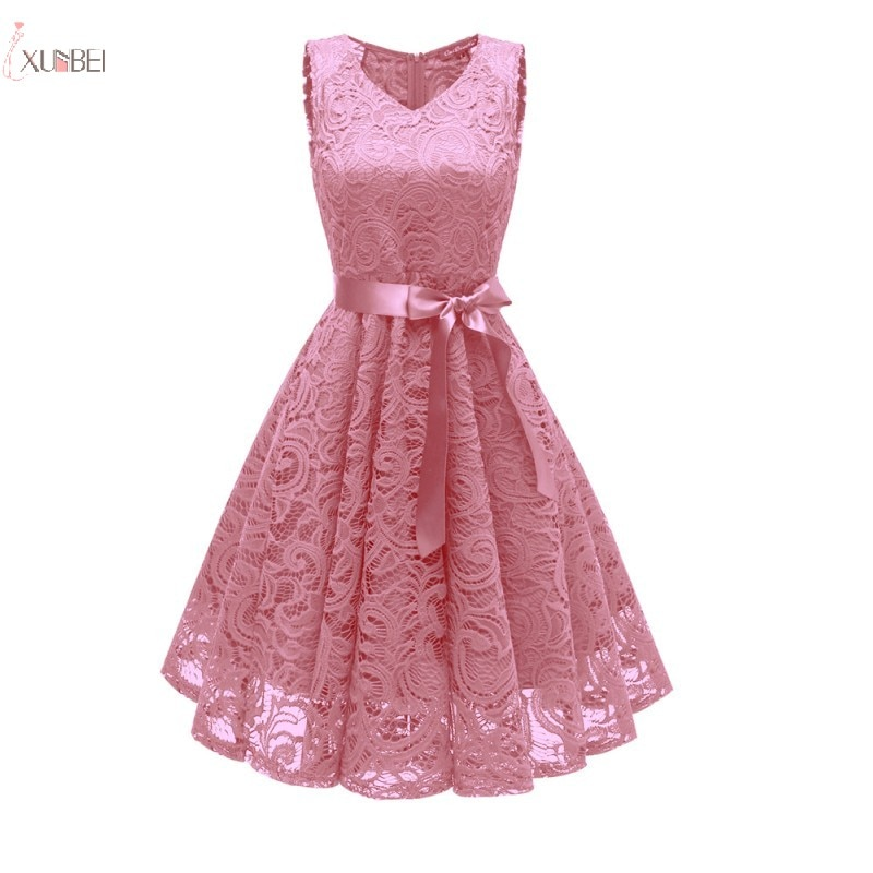 Evening Dresses 2019 Pink Floral Lace Short Formal Party Gown Sexy V Neck Sleeveless robe de soiree purple tease v neck floral lace trim robe with thong