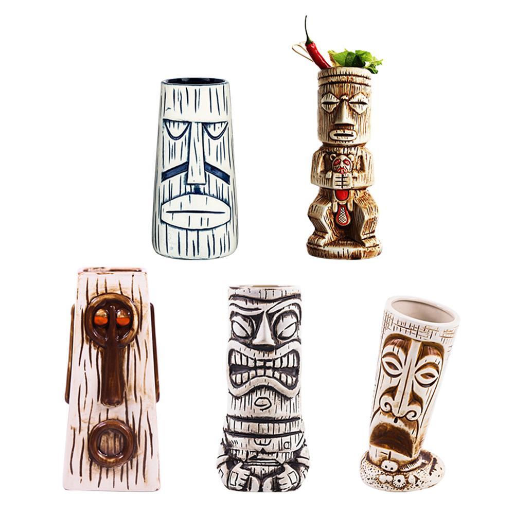 Creative Wine Glass Multi-style Hawaiian Tiki Cup Cocktail Glass Beer Mug Red Wine Glass Ceramic Holiday Islander Tiki Cup