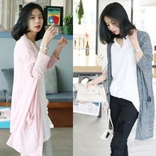 2020 Korean Cardigan Women's Spring Wear Summer Mid-Length Loose Sweater Long Sleeve Thin Coat Top S