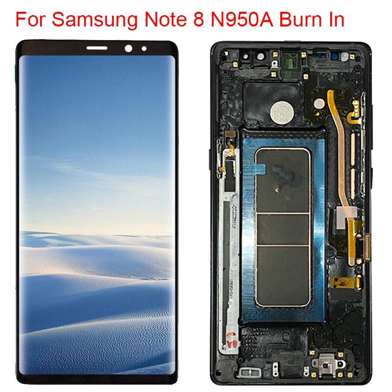 Pantalla Burn In N950FD para Samsung Galaxy Note 8 LCD con marco Super AMOLED Note 8 SM-N950A pantalla táctil sombras Rojas