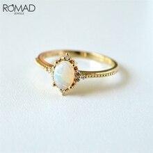 ROMAD géométrique ovale pierre anneaux pour femmes feu opale bague or/or Rose CZ cristal Zircon mariage bagues de fiançailles bijoux R50