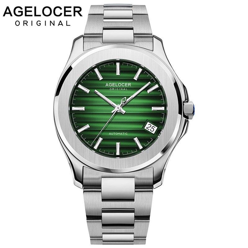 AGELOCER الرجال التلقائي الذاتي لف ساعة ميكانيكية Saphire الفولاذ المقاوم للصدأ بسيطة الأعمال الأزرق ارتفع الذهب الأخضر ساعة التاريخ