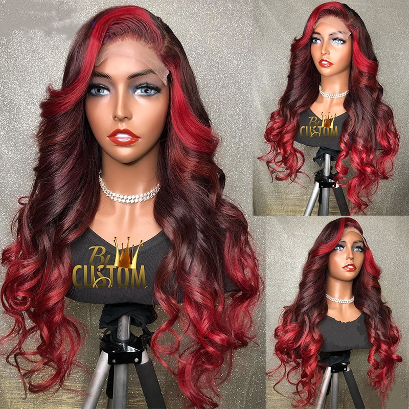 Red Color Lace Front Human Hair Wigs Ombre Red Highlight Burgundy 13x4 Lace Front Wig 180 Density