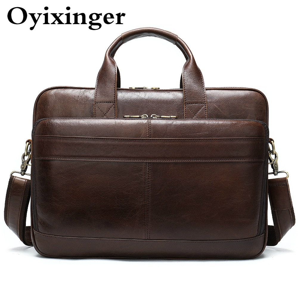 OYIXINGER Men's Briefcase Office Bags Man Genuine Leather Laptop Bag For 15.6 Inch Computer New Male Tote Briefcase Handbag 2021