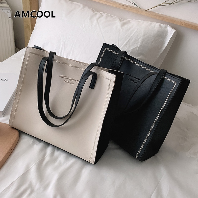 AliExpress - Shopper Bag For Women PU Leather Shoulder Shopping Bags For Woman Summer Simple Classic Solid Color Female Crossbody Travel Tote