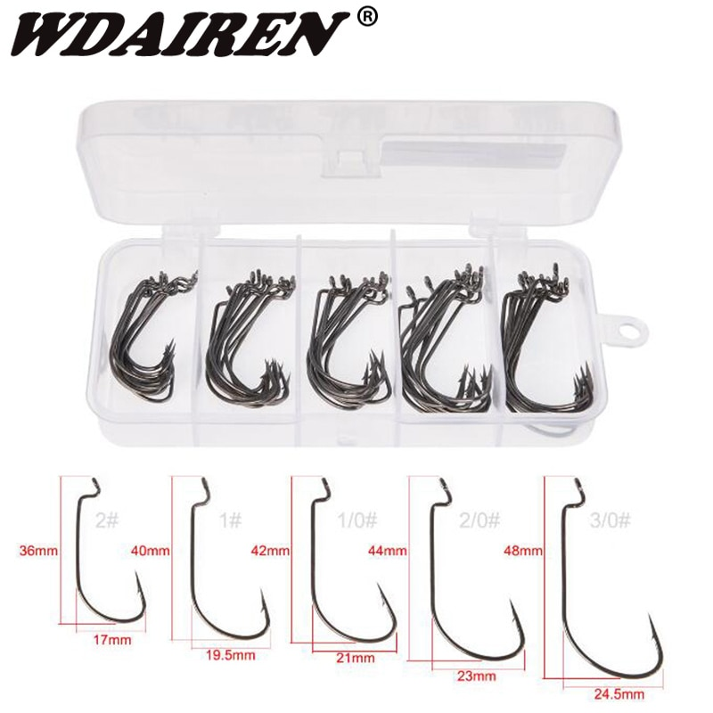50Pcs/Box Wide Crank Fishing Hooks Carbon Steel Offset Fishhook 3/0#-2# Bass Barbed Carp Hook For Soft Worm Lure set