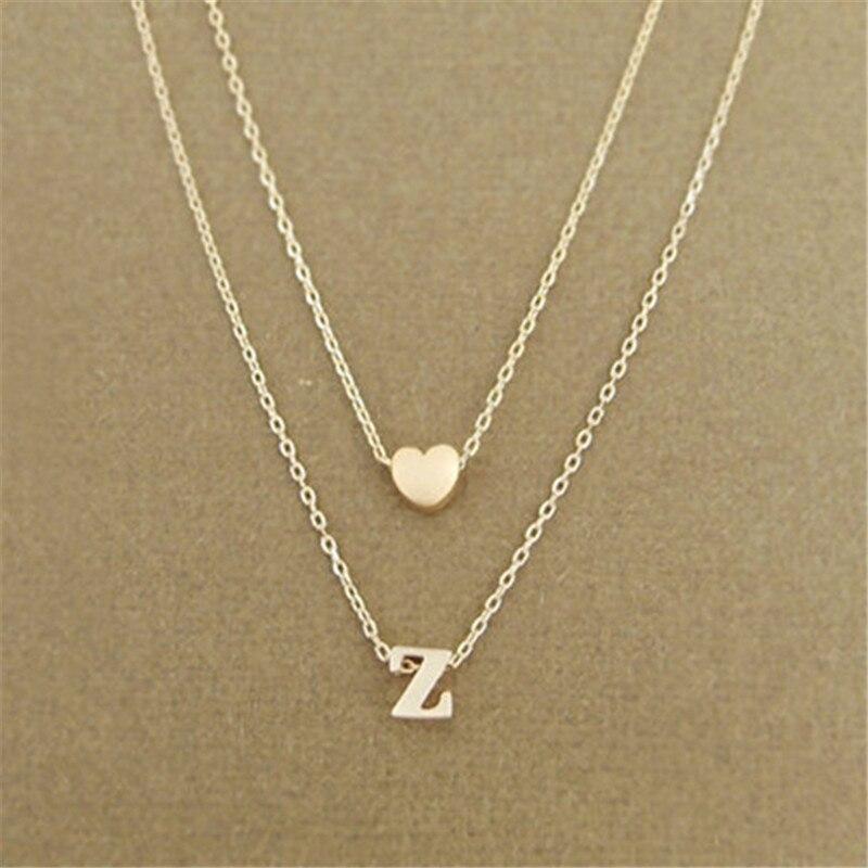 Moda corazón letra inicial nombre Collar personalizado oro plata doble capa cadena collares mujer joyería novia regalo