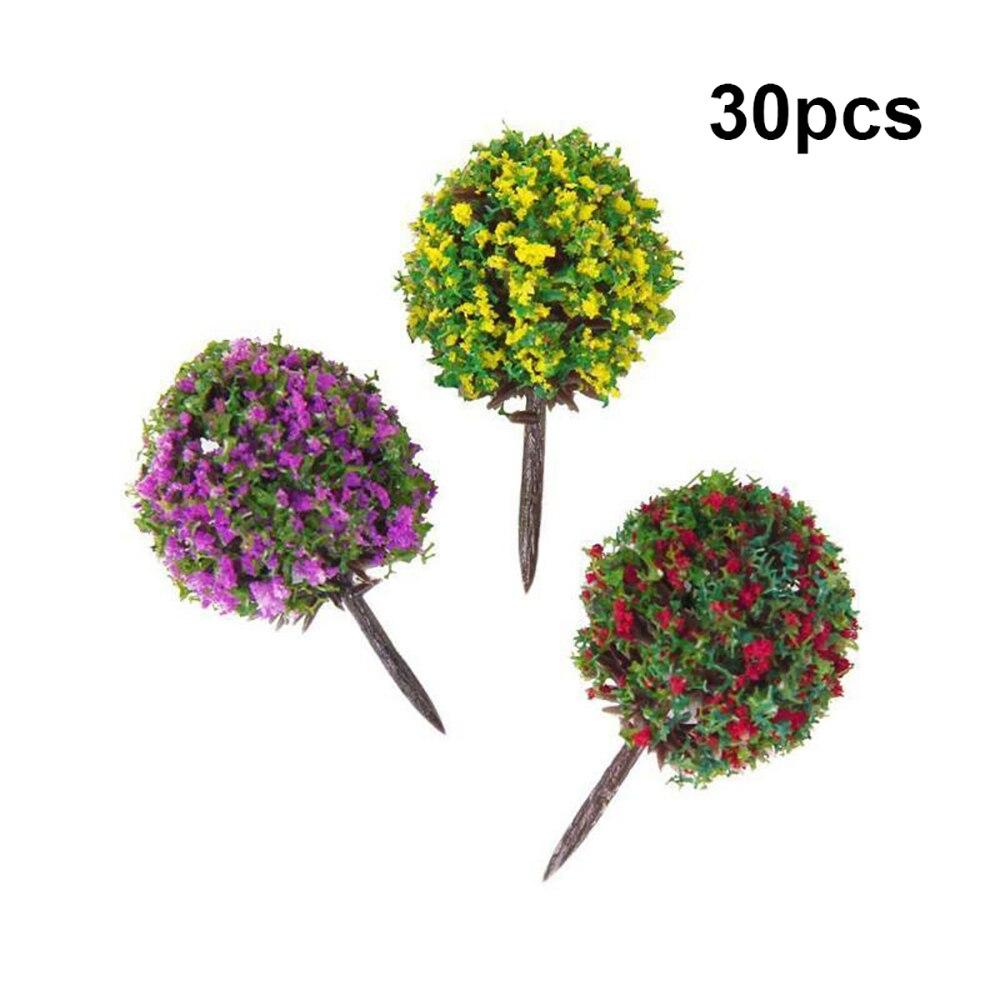 30 unids/lote 1100 escala en forma de bola flor modelo Micro paisaje árboles mixtos jardín paisaje miniatura juguete decoración artesanías