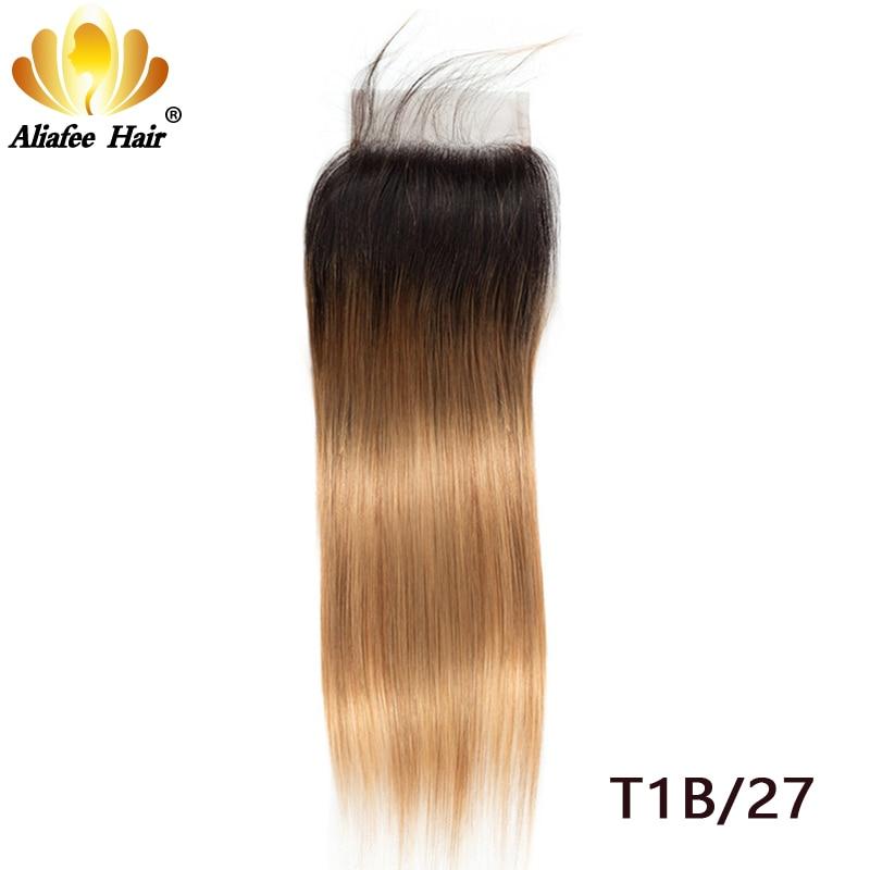 Aliafee Hair Natural Color/#2/#4/#27/#99/#Burgundy 4*4 Lace Closure Brazilian Straight Hair 130% Density Remy Human Hair 8''-20