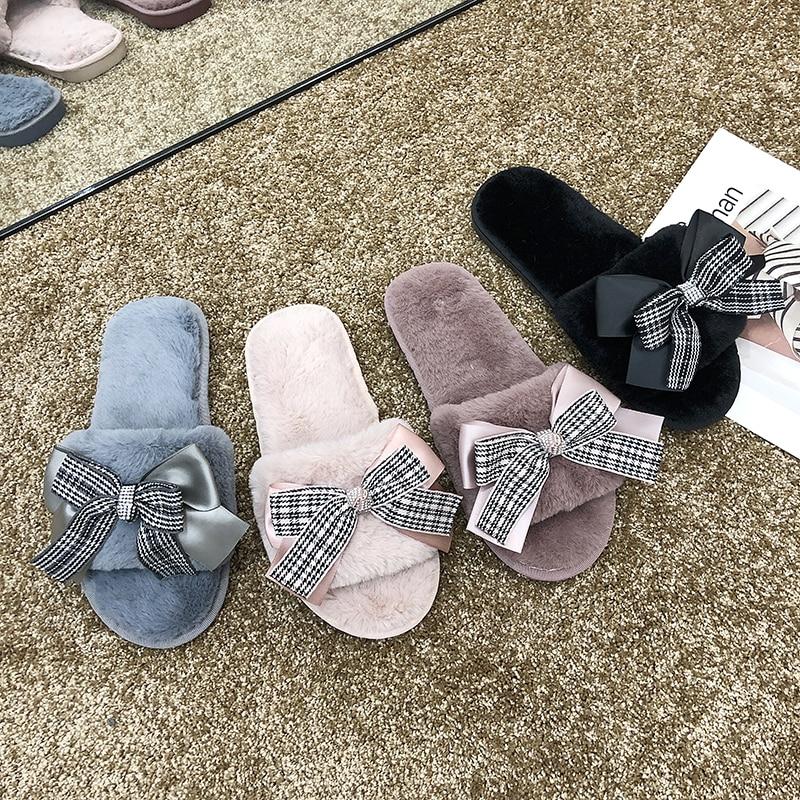 Zapatilla de felpa antideslizante para invierno, lazo de Invierno para mujer, zapatilla de casa, zapatos de interior cálidos para invierno, zapatos planos deslizantes para mujer