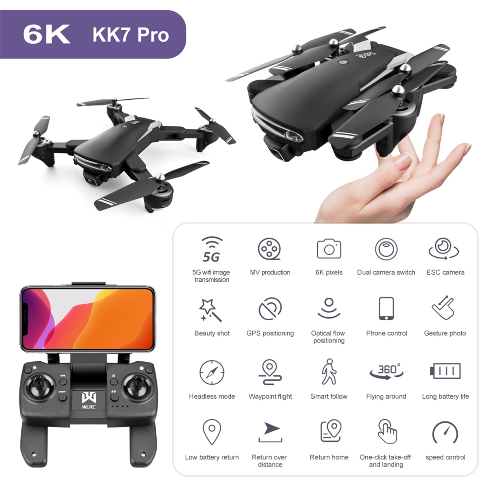 RC Drone Kk7 Pro Gps 6k Drone 5G Wifi Fpv With 6k Hd Camera Optical Flow Foldable 500m Control Distance RC Mini Quadcopter #F