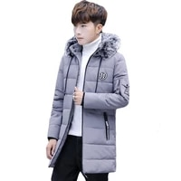 winter mens wear long sleeve hooded mid length fur collar thick cotton yi inflooring teenager korean style slim fit